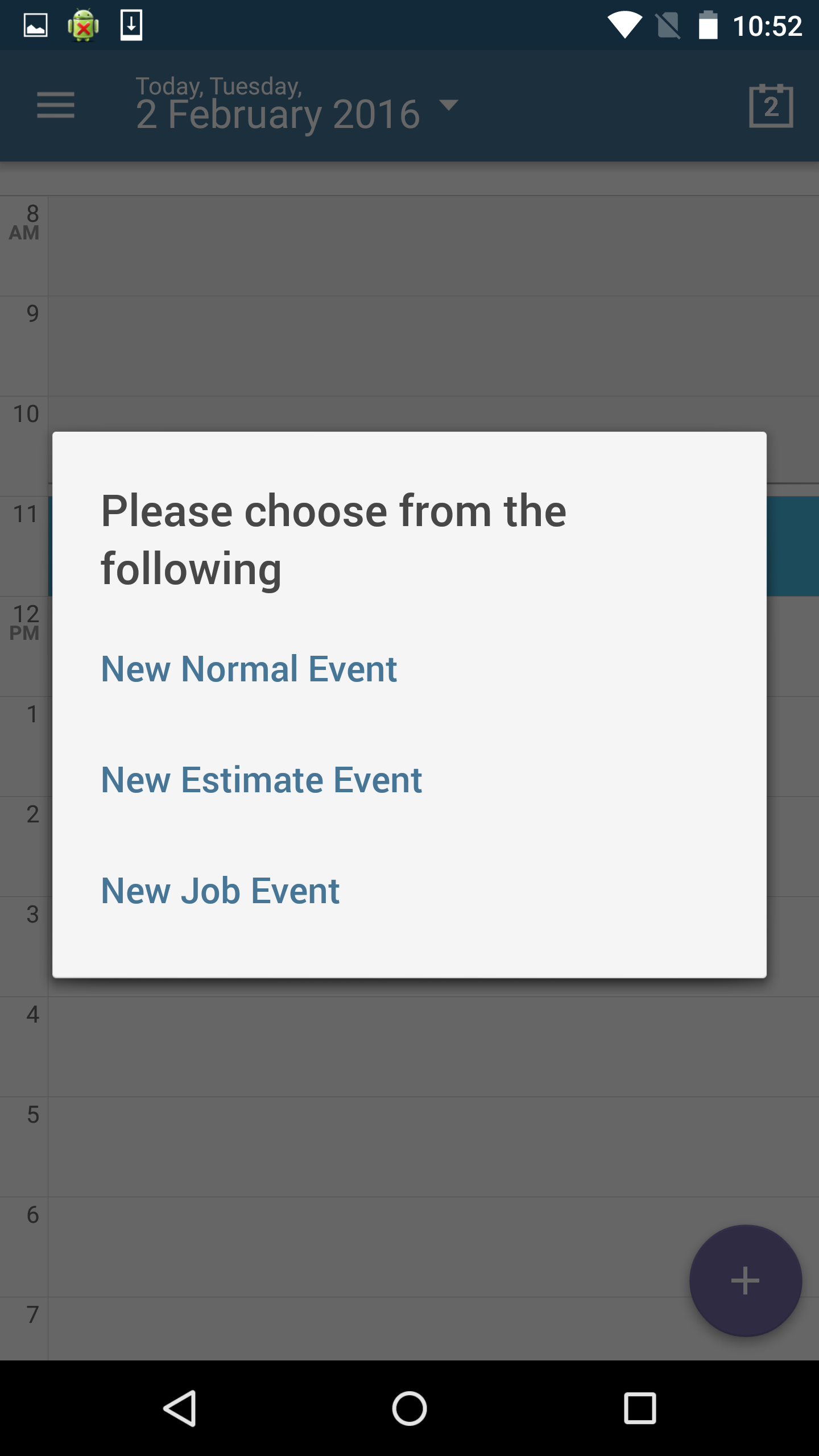 add an estimate job on an android phone commusoft v go to the day you would like to book the estimate job for click in the time slot and click once more to see options for normal estimate and job