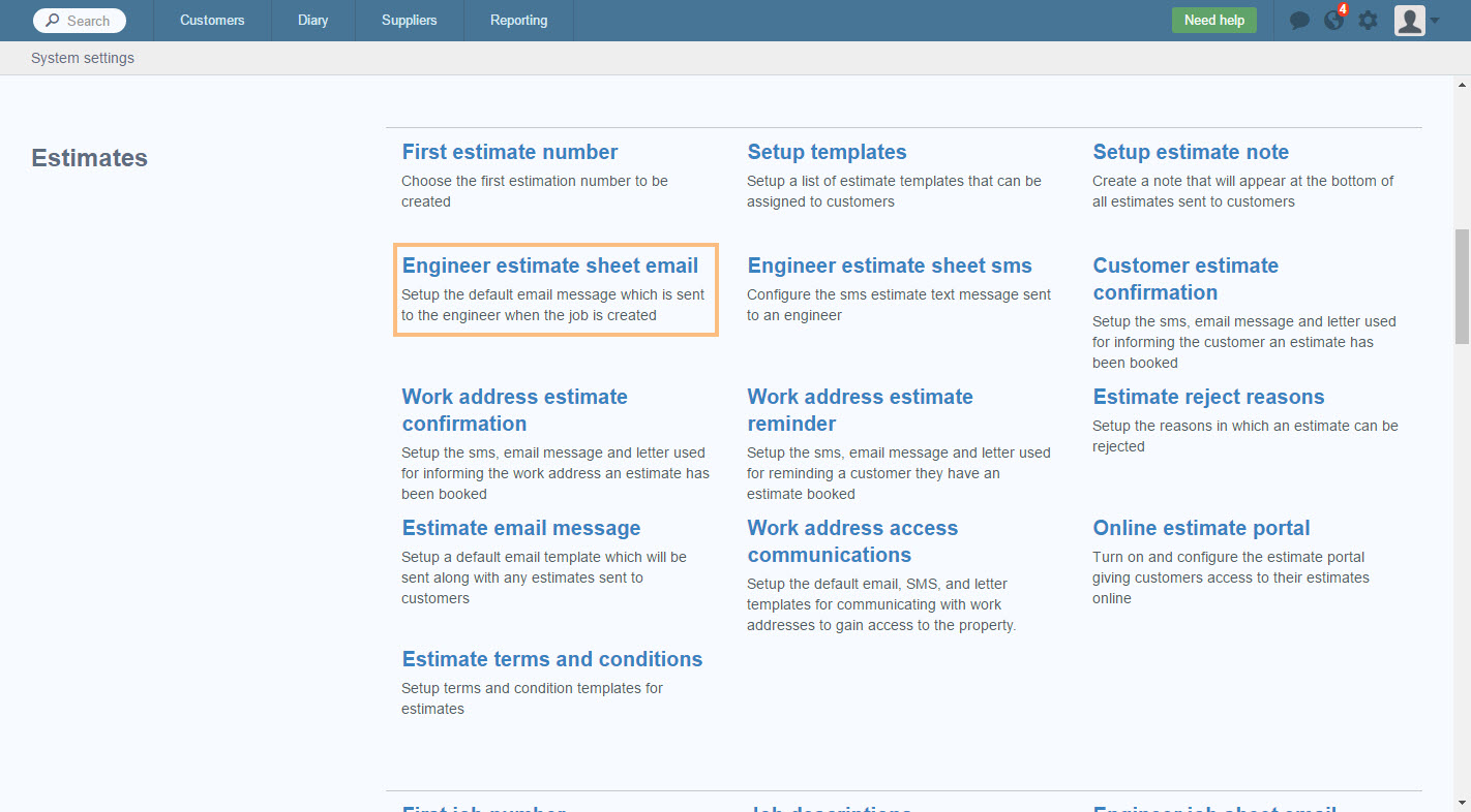 edit engineer estimate sheet email commusoft v4 in the list of estimates click engineer estimate sheet email